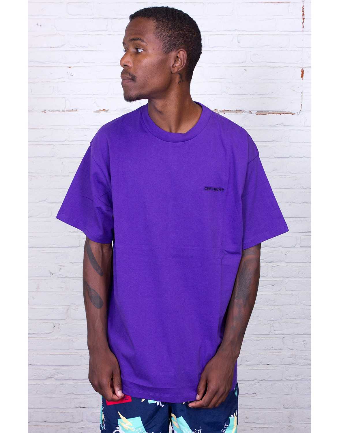 Carhartt WIP Script Embroidery T Shirt FROSTED VIOLABLACK