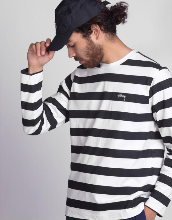 Printed Stripe LS Crew