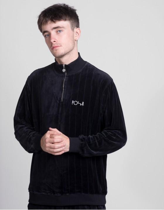 Velour Zip Neck Sweatshirt